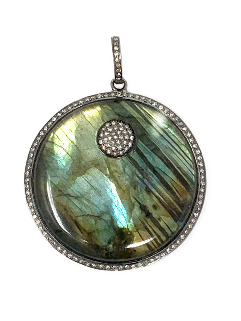 Labradorite and Pave Diamond Round Pendant