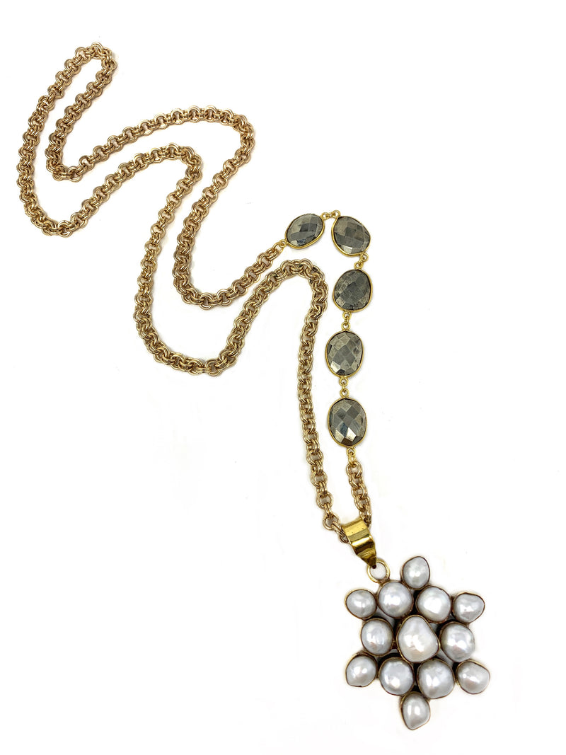 Pearl Flower Pendant on Gold and Pyrite Chain