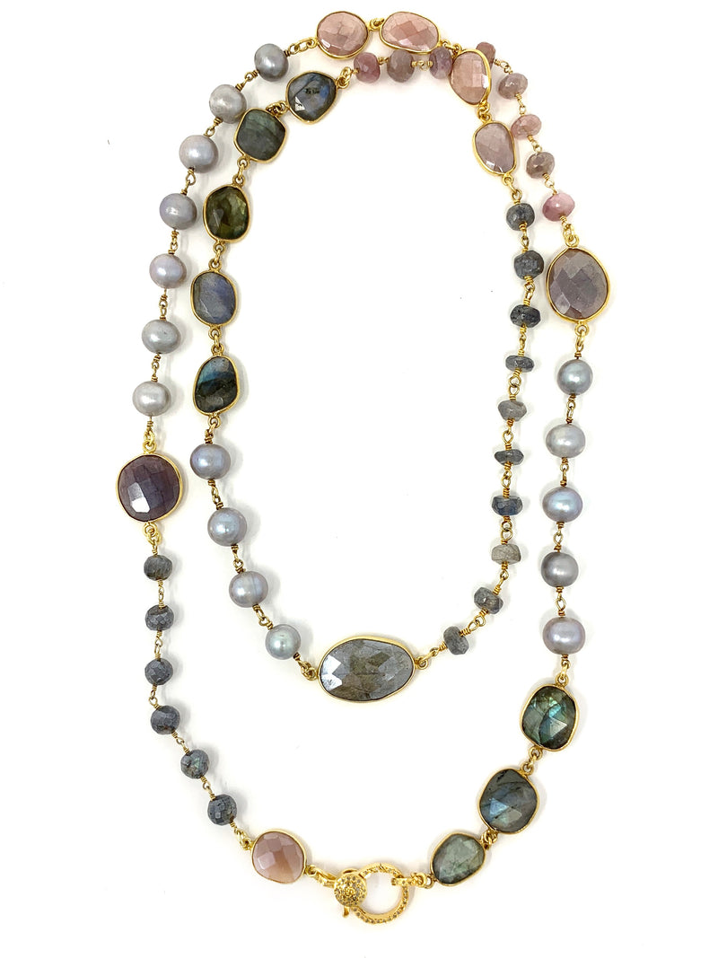 Assorted Gemstone and Pearl Chain with Vermeil Pave Diamond Clasp -Necklace