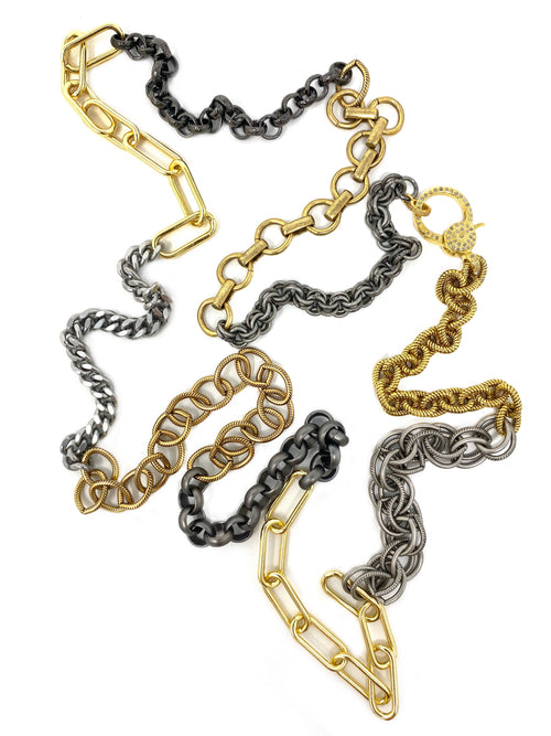 Mixed Metal And Mixed Link Chain with Diamond Vermeil Clasp #8