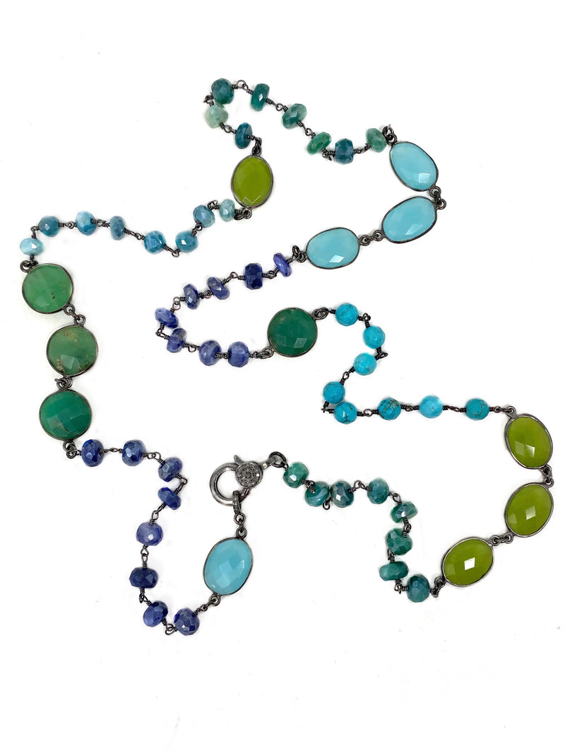 Blue and Green Gemstones with Diamond Accent Clasp