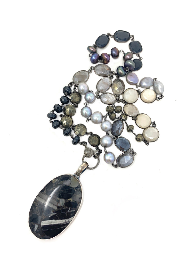 Multi Gemstone Chain with Black Agate Pendant