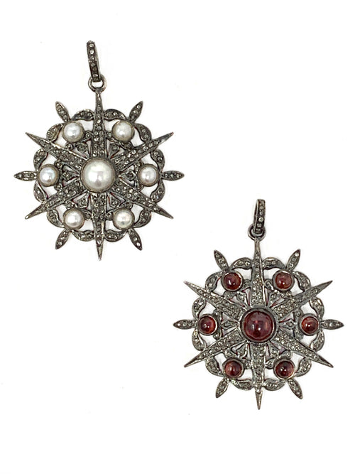 Vintage Style Pave Diamond Star/Flower Pendant (Freshwater Pearl or Garnet)