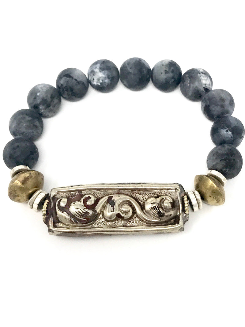 Matte Agate Beads with Brass and Tibetan Silver Bracelet