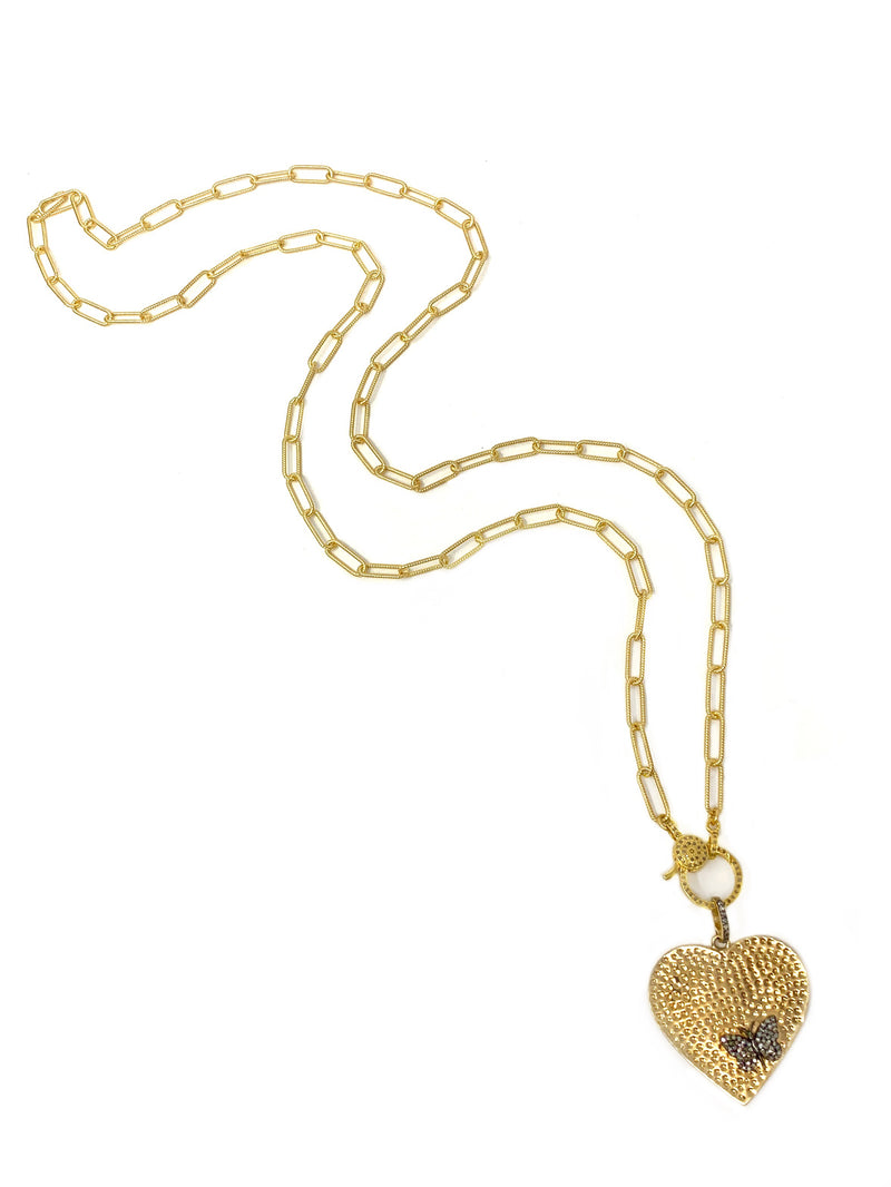Hammered Heart with Pave Diamond Butterfly on Vermeil Chain with Diamond Clasp