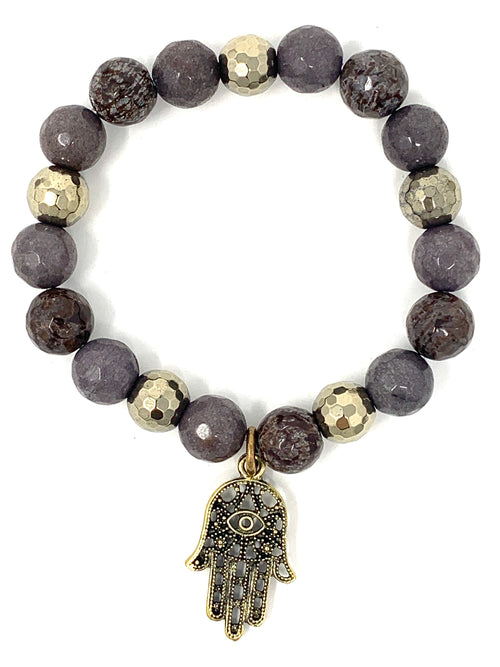Brown Jasper and Pyrite Beads with Hamsa Charm Bracelet