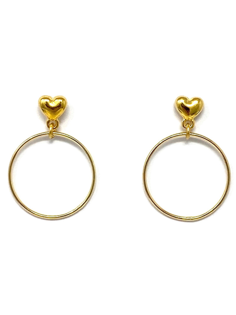 Heart with Hoop Post Earrings