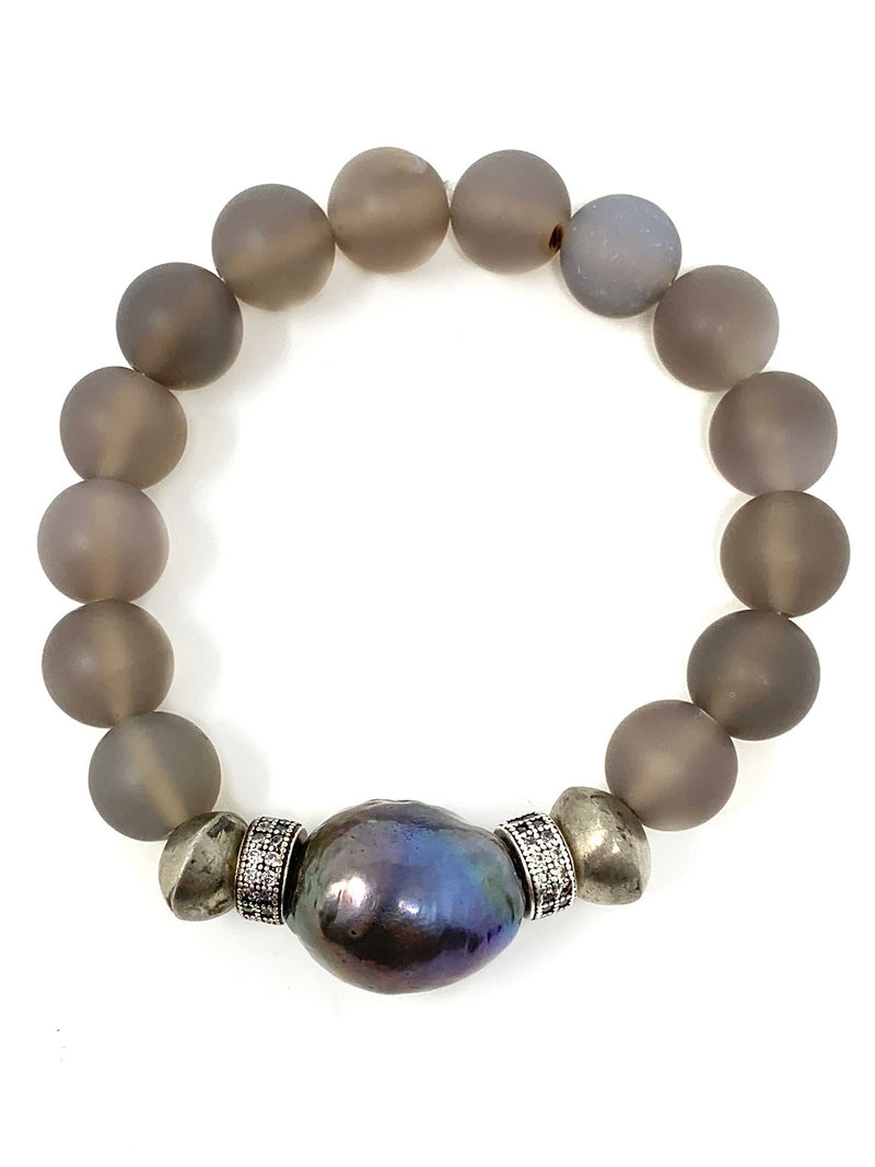 Translucent Gray Bead with Large Peacock Pearl and Pave Accents Bracelet