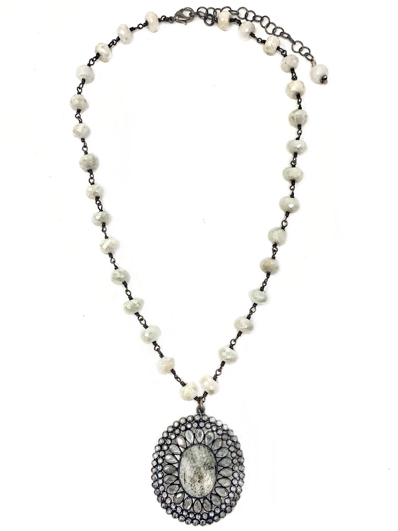 White Moonstone Chain with Micro Mosaic Pendant with Variegated Quartz