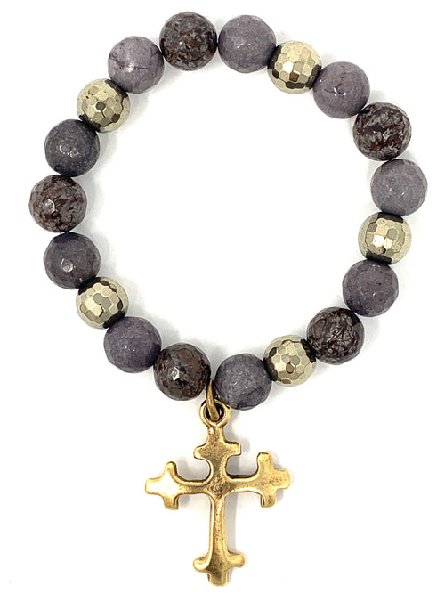 Brown Jasper and Pyrite with Brass Cross Charm Beaded Bracelet