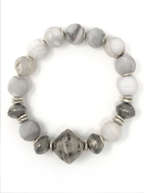 Gray and White Banded Agate and African Silver Beaded Bracelet
