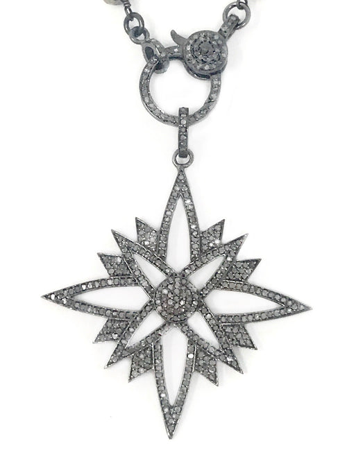 Pointy Star Pave Diamond Pendant