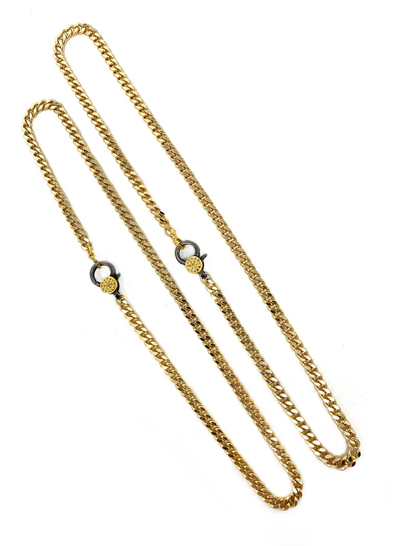 Gold Curb Chain With Two Tone Diamond Accent Clasp