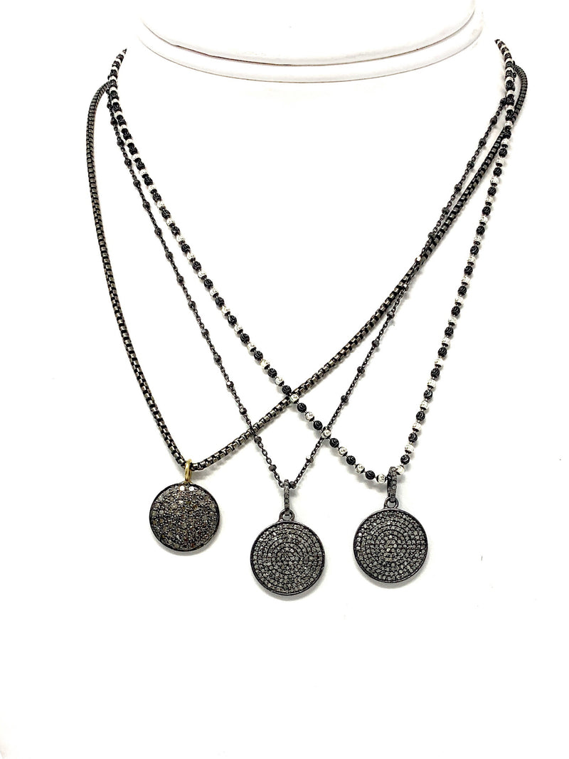 Pave Diamond Disc on Sterling Chain