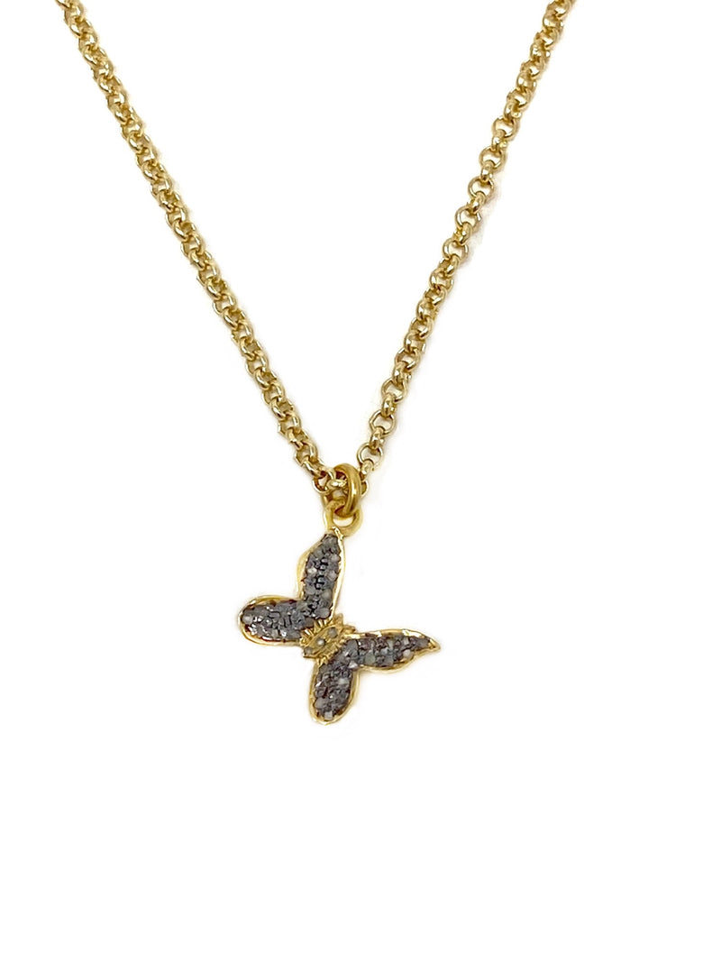Two Tone Diamond Butterfly Charm Necklace