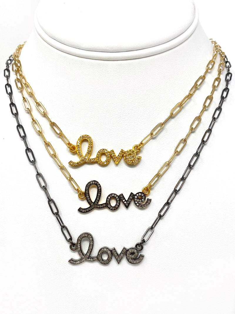 Pave Diamond LOVE Necklace in 3 finishes