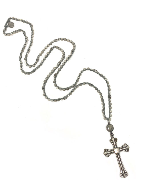 Silver Beaded Crochet Chain with Vintage Silver and Pyrite Cross Pendant
