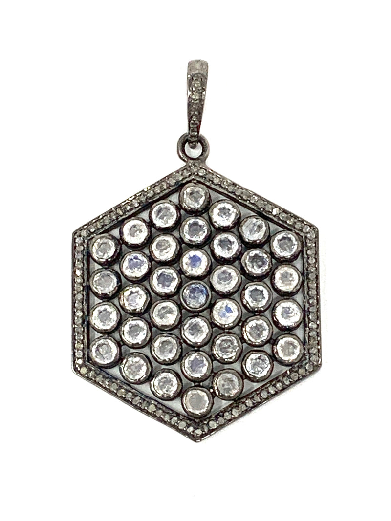 Diamond and Moonstone Hexagon Pendant