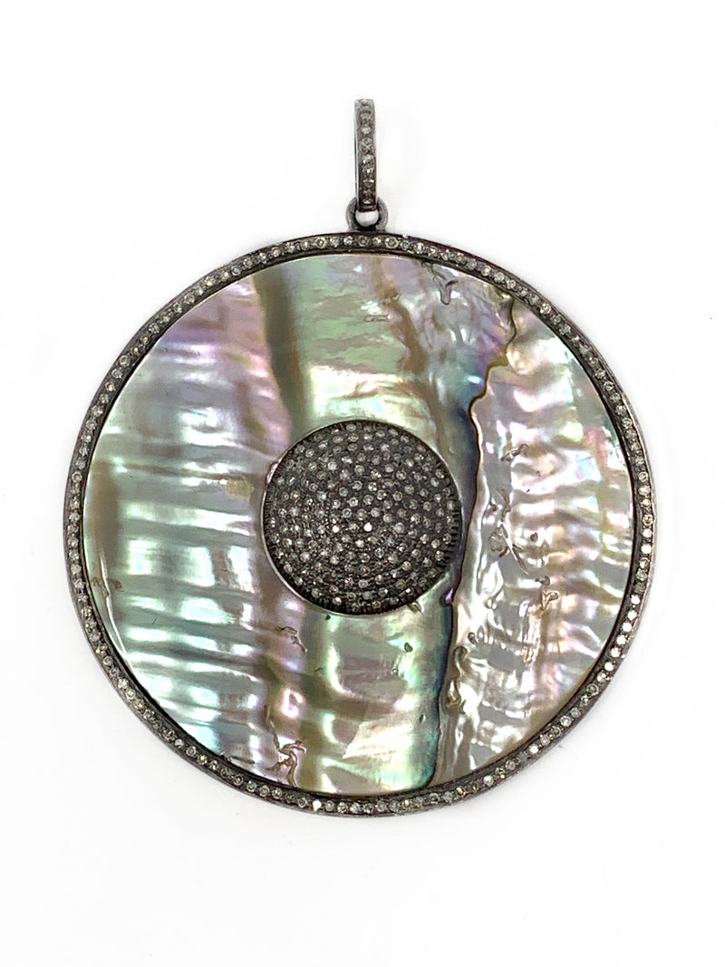 Mother of Pearl Round Pendant with Diamond Center and Outline