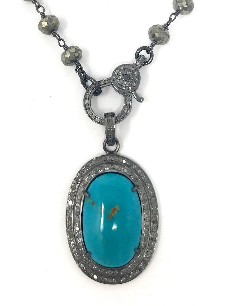 Turquoise and Pave Diamonds in Sterling Silver Oval Pendant