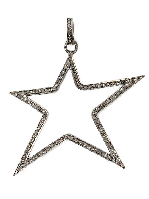Open Large Star Pave Diamond Pendant