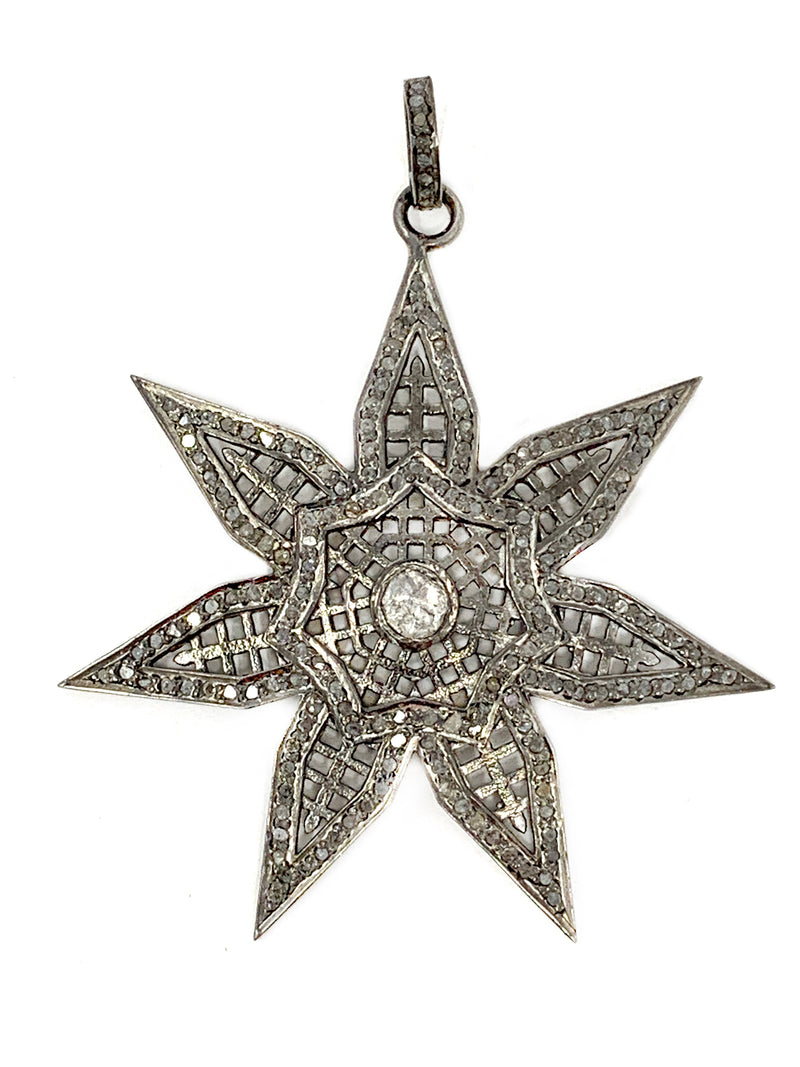 Vintage Style Pave Diamond Star with Polki Diamond Center