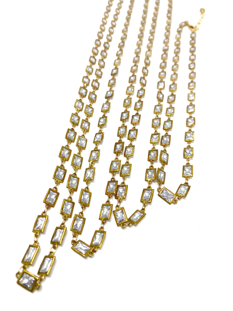 Cubic Zirconia Rectangle Bezel Set Antiqued Gold Chain