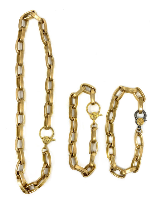 Brass Link Bracelet with Pave Diamond Clasp