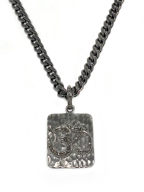 Diamond Accent Om Pendant on Oxidized Silver Curb Chain