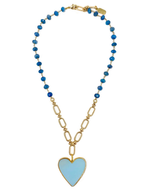 Light Blue Enamel Heart on Dark Blue Quartz Chain