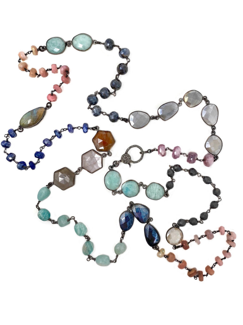 Mixed Colored Gemstone Chain with Diamond Clasp