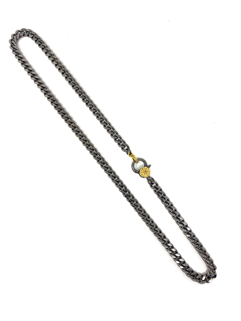 Curb Chain with Diamond Accent Two Tone Clasp