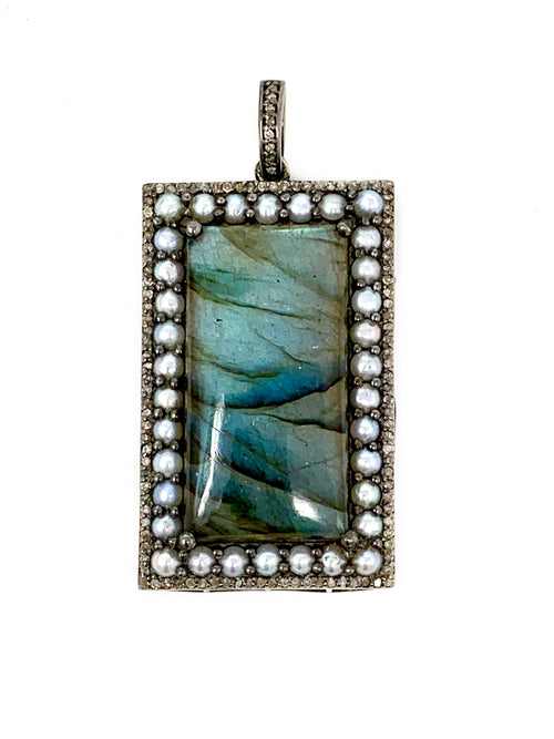 Rectangle Labradorite Pendant with Pearls and Diamonds