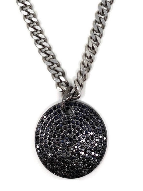 Black Round CZ Pendant on Thick Silver Curb Chain