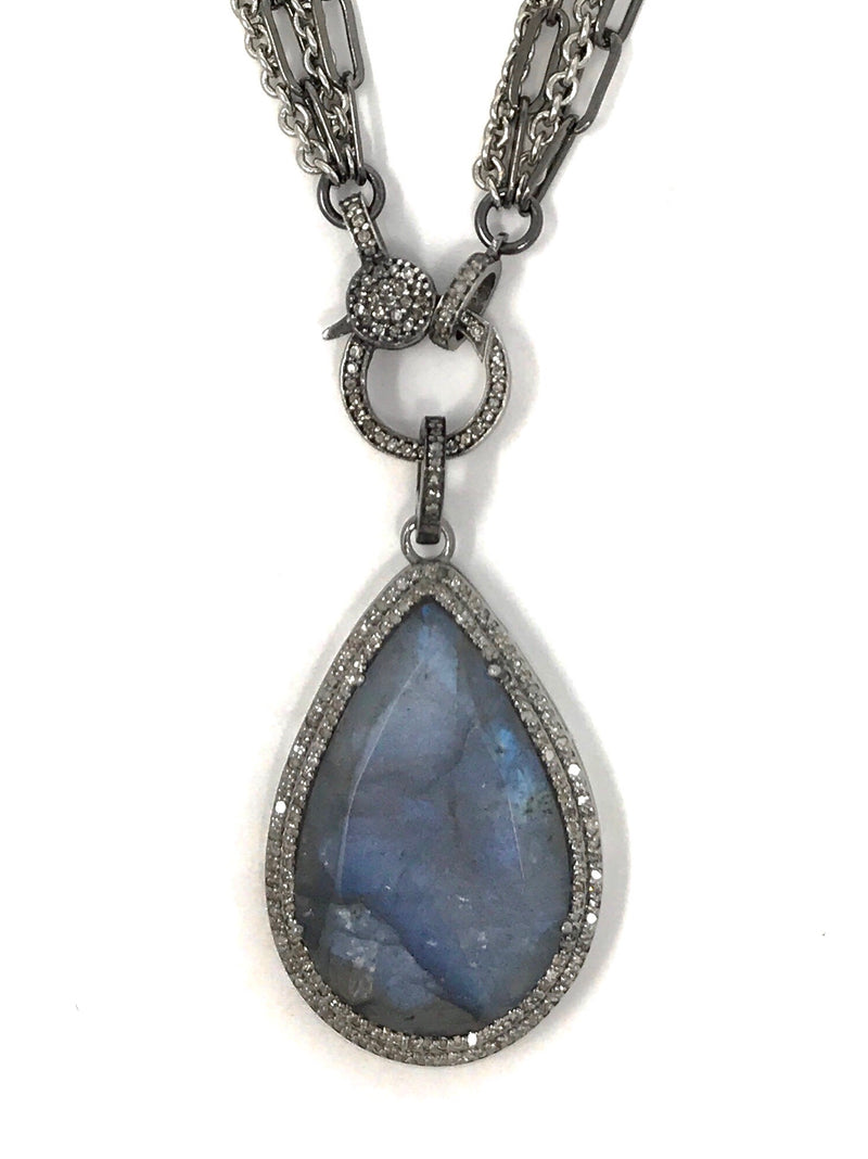 Labradorite Teardrop Shaped with Pave Diamonds Pendant #2