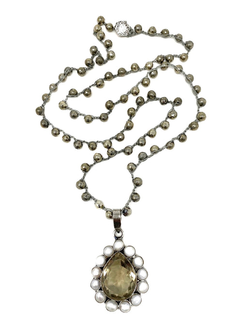 Crocheted pyrite chain with Pearl and Smokey Quartz Flower Pendant