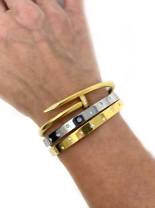 14K Plated Brass Hinged Bangle Bracelets with Cubic Zirconia
