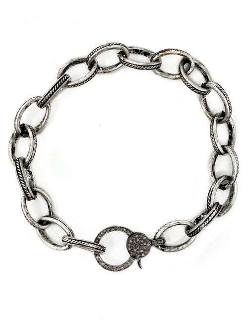 Antiqued Silver Chain with Sterling Pave Diamond Clasp