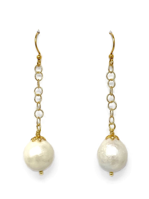 Baroque Freshwater Pearl and Chain Earrings