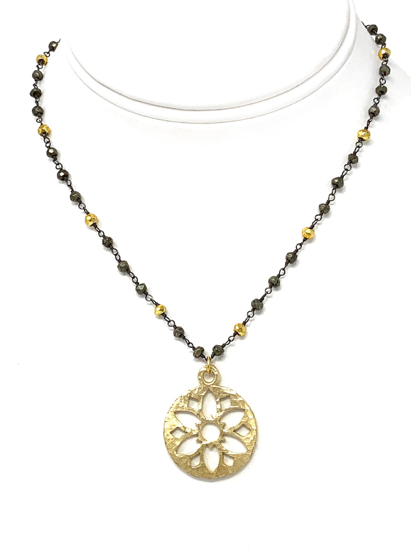 Pyrite Chain with Hammered Gold Flower Pendant
