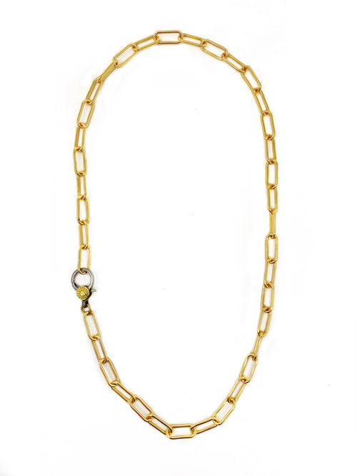 Modern Paper Clip Chain with a Pave Diamond Accent Two Tone Clasp