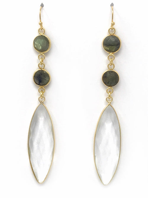 Quartz and Labradorite Triple Drop Gold Earrings
