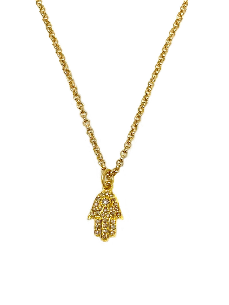 Diamond Hamsa Charm Necklace