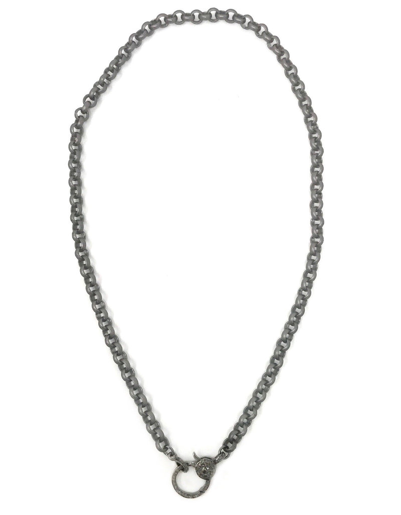 "Gunmetal Rolo Chain with Diamond Clasp 16"" or 33"""