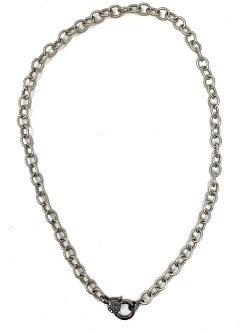 Matte Silver Chain with Diamond Accent Clasp