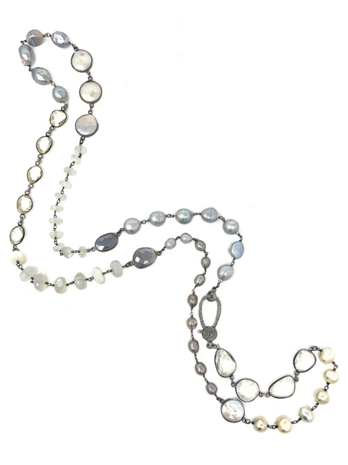 White and Gray Pearls and Gemstone Chain with Diamond Clasp