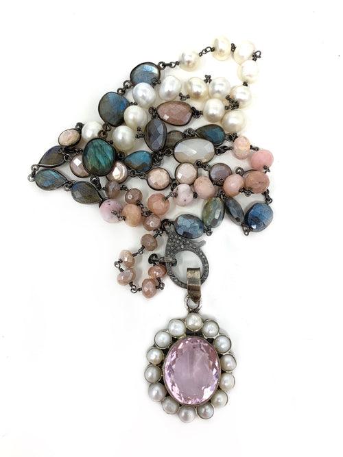 Labradorite, Pearls and Pink Gemstones with Diamond Clasp with Rose Quartz and Pearl Pendant