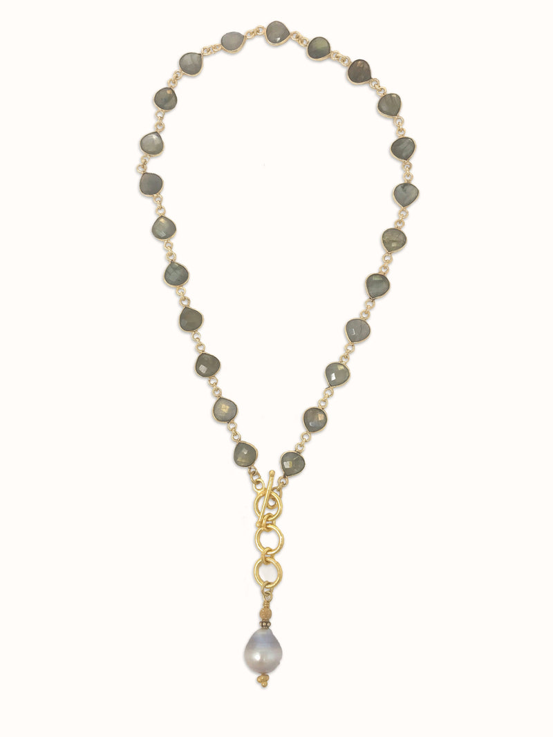 Labradorite Bezel Chain with Champage Freshwater Pearl - Necklace