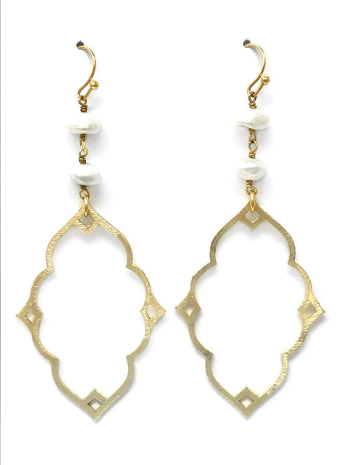 Freshwater Pearl and Gold Fancy Drop - Earrings