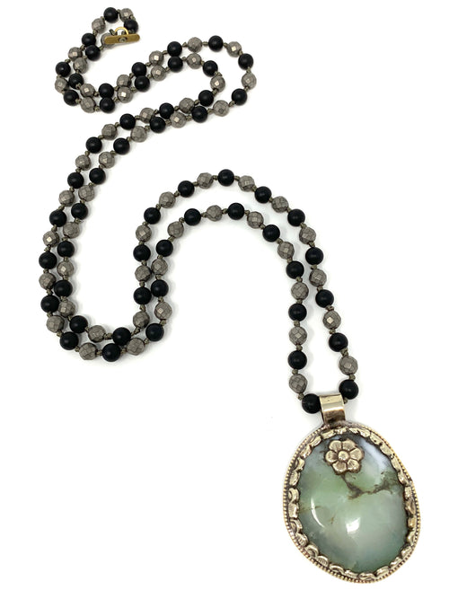 Chrysoprase Tibetan Pendant on Onyx and Gray Handknotted beads - Necklace